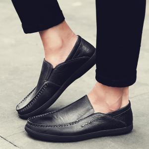 Faux Leather Slip On Casual Shoes - Noir 40