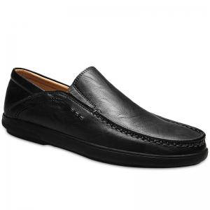 Faux Leather Slip On Casual Shoes - Black - 41