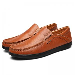 Faux Leather Slip On Casual Shoes - Brun 43