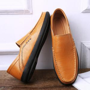 Faux Leather Slip On Casual Shoes - Jaune 43