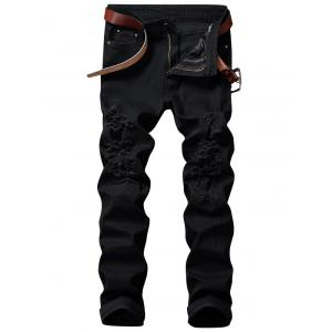 Zip Fly Straight Jeans with Rips