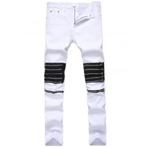 Slim Fit Multi Zippers Panel Jeans
