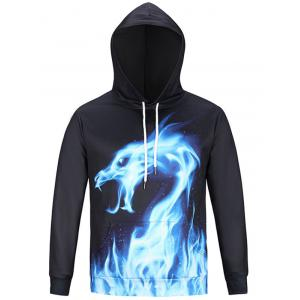Fire Dragon Print Pullover Hoodie