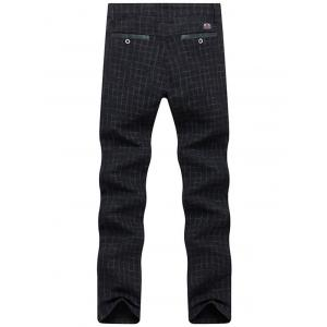 Zipper Fly Checked Chino Pants - BLACK 36