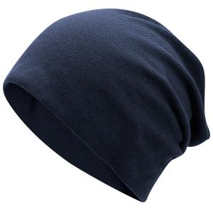 Fall Plain Knitted Pinstripe Beanie - Deep Blue
