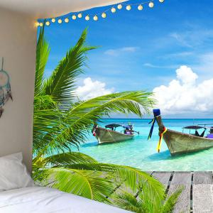 Waterproof Fishing Boat Seascape Wall Hanging Tapestry