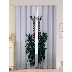 2Pcs Zebra Pattern Lightproof Window Curtains - Gray - W53 Inch * L96.5 Inch