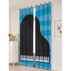 Lightproof 2Pcs Piano Pattern Window Curtains -