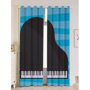 Lightproof 2Pcs Piano Pattern Window Curtains - Black - W53 Inch * L96.5 Inch