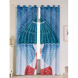 2Pcs Abstract Printed Lightproof Window Curtains