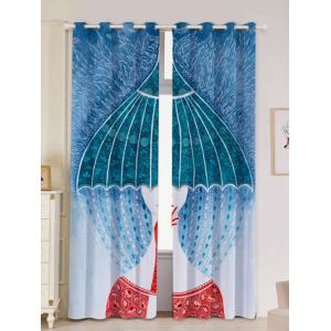 2Pcs Abstract Printed Lightproof Window Curtains - Colorful - W53 Inch * L96.5 Inch