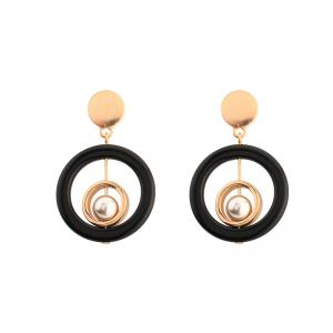 Faux Pearl Metal Resin Circle Earrings