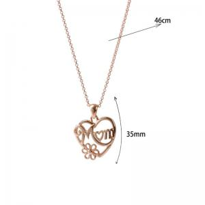 Alloy Heart Flower Mom Collarbone Necklace - GOLDEN