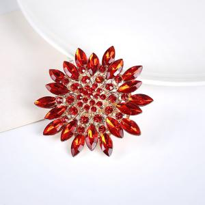 Rhinestone Sparkly Flower Brooch - RED