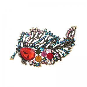 Rhinestone Sparkly Faux Ruby Leaf Brooch - Green
