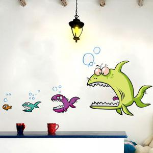 Cartoon Piranha Shape DIY Wall Sticker - COLORMIX