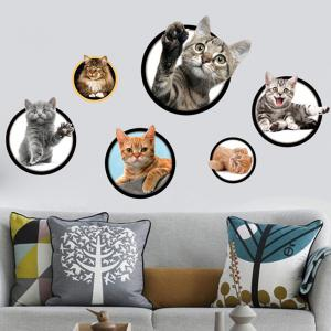 3D Cat Pattern Wall Sticker - Colorful - 50*70cm