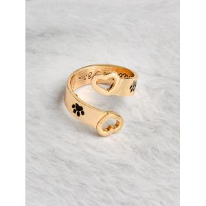 Love You Forever Heart Claw Footprint Ring -