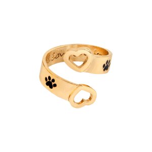 Love You Forever Heart Claw Footprint Ring - Golden - One-size