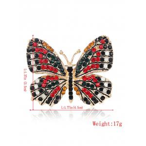 Sparkly Rhinestone Butterfly Brooch - RED
