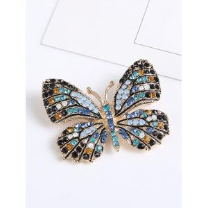 Sparkly Rhinestone Butterfly Brooch - BLUE