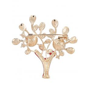 Artificial Pearl Rhinestone Tree of Life Brooch -