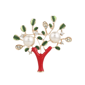 Artificial Pearl Rhinestone Tree of Life Brooch - Red