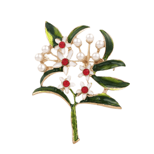 Faux Pearl Rhinestone Flower Leaf Brooch - Green
