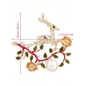 Rhinestoned Faux Pearl Christmas Elk Brooch - RED