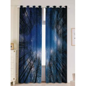 Forest Starry Sky Printed 2Pcs Lightproof Window Curtains - Light Blue - W53 Inch * L96.5 Inch