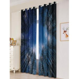 Forest Starry Sky Printed 2Pcs Lightproof Window Curtains - LIGHT BLUE W53 INCH * L96.5 INCH