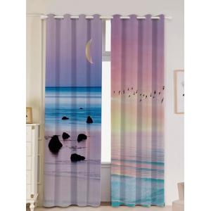 Seaside Sunset Pattern 2Pcs Lightproof Window Curtains - Colorful - W53 Inch * L96.5 Inch