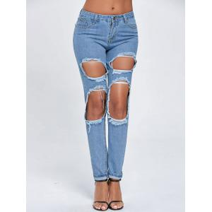 Ripped Cut Out Boyfriend Jeans