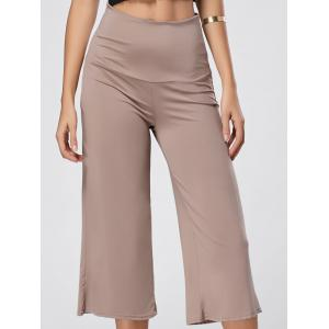 High Waisted Wide Leg Capri Pants - Skin Color - S