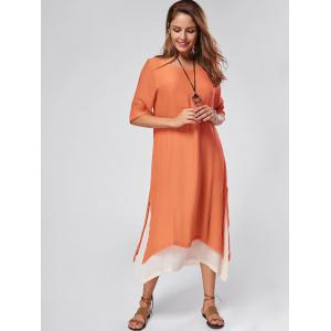 Robe maxi en lin asymétrique haute rayure - Orange 2XL