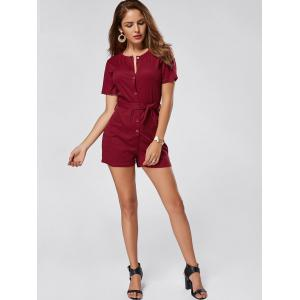 Button Down Knitted Romper - WINE RED XL