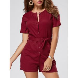 Button Down Knitted Romper - Wine Red - L