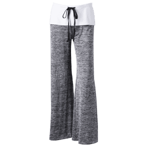 Foldover Heather Palazzo Pants - GRAY M