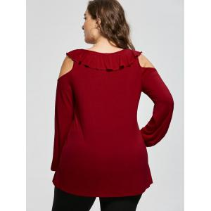 Plus Size Criss Cross Open Shoulder Top - DEEP RED XL