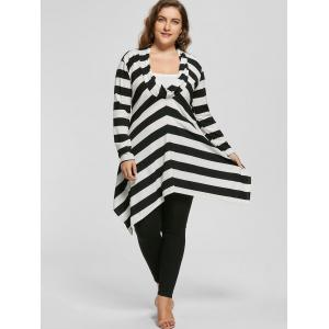 Plus Size Cowl Neck Long Sleeve Striped Top -
