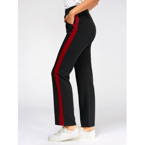 Color Trim Elastic High Waist Casual Pants - BLACK S