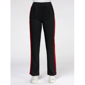 Color Trim Elastic High Waist Casual Pants