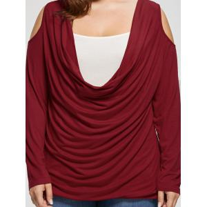 Plus Size Open Shoulder Cowl Neck Top - WINE RED XL