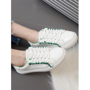 Ruffles Faux Leather Flat Shoes - GREEN 39