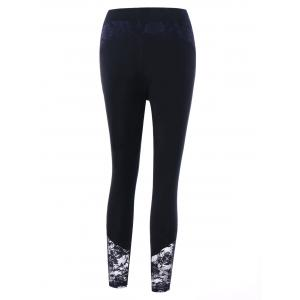 Plus Size Lace Insert Fitted Pants - BLACK 4XL