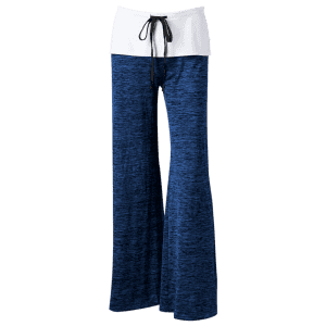 Foldover Heather Palazzo Pants - OCEAN BLUE 2XL