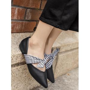 Tie Up Faux Leather Flat Shoes - BLACK 37