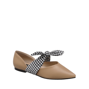 Tie Up Faux Leather Flat Shoes - Abricot 39