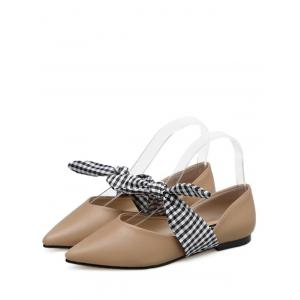 Tie Up Faux Leather Flat Shoes - APRICOT 37