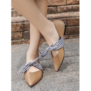 Tie Up Faux Leather Flat Shoes - Abricot 38